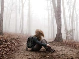 Woman all alone in the woods