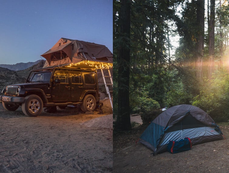 Traditional Tent or Rooftop Tent Setup